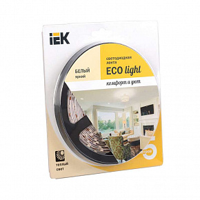 Лента светодиодная ECO LED LSR-3528WW60-4,8-IP20-12V 5Вт/м (уп,5м) тепл, бел, ИЭК LSR1-1-060-20-1-05