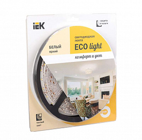 Лента светодиодная ECO LED LSR-3528WW60-4,8-IP65-12V 5Вт/м (уп,5м) тепл, бел, ИЭК LSR1-1-060-65-1-05